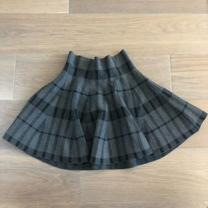 Black gray checkered stretchy thick wool skirt